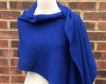 Royal Blue  wool extra large shawl .Winter wedding shawl.Travel Wrap . Soft and warm elegant shawl.Mothers Day Gift Gift for wife mom Nanna