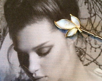Decorative Hair Pins Jewelry White Enamel Leaf Elven Fairy Faerie Hair Jewelry