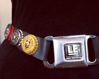 Vintage Steampunk Seatbelt and Bottle Cap Belt