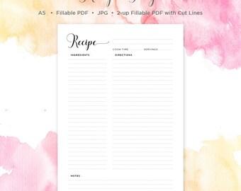 A5 Recipe Page | Recipe Page | A5 | Recipe Book | Recipe Card | Recipe Binder | Recipe Sheet | Printable Recipe Page | Blank Recipe Book