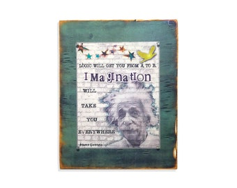 Knowledge will get you from A to B. mixed media Rustic Wood Framed.  Wooden Sign. Quotes on Wood. Wall decor. 5th Anniversary Gift.