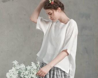 white linen shirt tunic, oversized square neck blouse,  loose fitting linen kimono, half sleeves blouse tunic, white linen dress, plus size