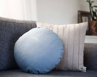 Round blue pillow for sofa pillows collection, linen round pillow with insert, co sleeper pillow, pillow for floor seating