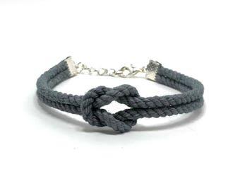 Grey Tie The Knot Rope Bracelet Wedding Favor Wedding Jewelry Bridesmaid Flower Girl Bride Gift