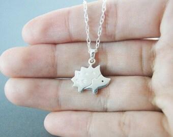 Hedgehog Necklace - hedgehog silver - Handmade in sterling silver
