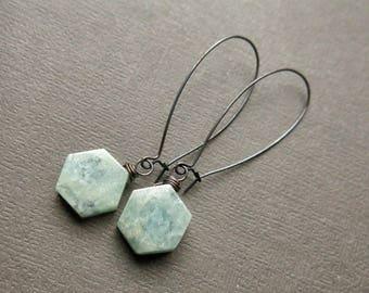 Raw Aquamarine Earrings - March Birthstone Earrings- Baby Blue Earrings- Stone Slice Earrings- Hexagon Dangle Earrings Boho Hexagon Earrings