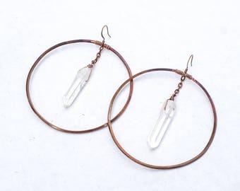 Large Hoops With Clear Quartz Dangles, Boho Chic Earrings, Gemstone Crystal Earrings