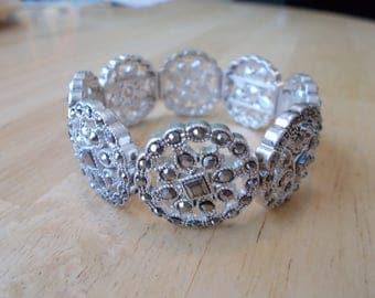SALE Silver Tone and Clear Rhinestone Stretch Cuff Bracelet