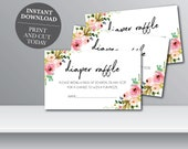 INSTANTLY EDITABLE - Floral Baby Shower Diaper Raffle, Floral Printable Diaper Raffle, Baby Shower Diaper Game, OLDP350