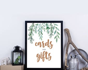 Greenery Cards and Gifts, Garden, Botanical, Cards & Gifts Printable Wedding Sign, Well Wishes, Wedding Reception Sign –Delilah