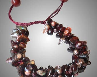 Garnet Bracelet with Freshwater blister Pearls