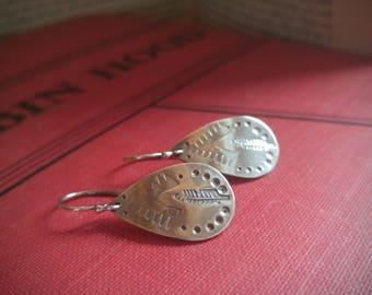 Stamped Sterling Silver Earrings. Tribal Feather Textured Oxidized Silver Dangle Earrings. Teardrop Shape. Boho Earrings. Ready to Ship.
