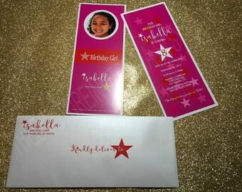 Birthday Girl | Girl Birthday Invitation | Doll Party Invitation | Girl Birthday Invitation | Red and Pink Invitation