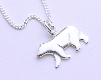 Sterling silver polar bear necklace. silver bear charm necklace. sterling silver polar bear pendant necklace, silver bear pendant necklace