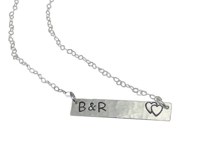 Double Heart Bar Necklace