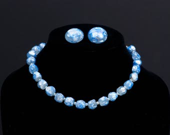 Japanese Baroque Ice Blue Necklace Silver Foil Glass Bead Necklace Bergere