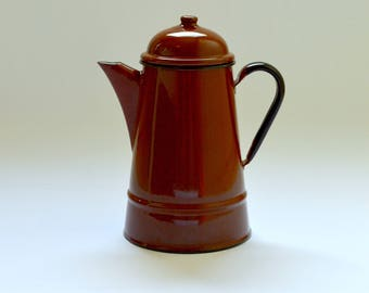 Large Vintage 1960's Enamel Coffee Pot, Mid-Century Kitchenware