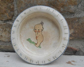 Antique Kewpie Baby Dish Plate Holdfast Bowl ABC Alphabet Border Rose O'Neill Kewpie Child's China Pottery D.E.M McNicol East Liverpool, OH