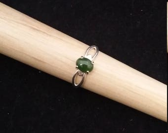 Jade Sterling Silver Ring - Size 8