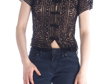 1930s Short Sleeve Collared Top Size: S
