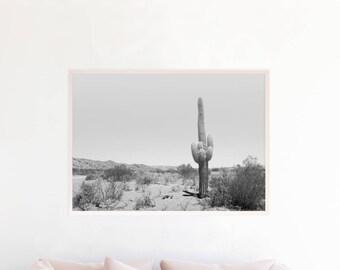 Desert Wall Art Print Digital Download, Black and White Desert Landscape Photography, Minimalist Boho Decor, Southwestern Cactus Art c4bwl