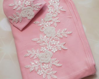 Pink Receiving Baby Blanket Pink Blanket with Large Sequent and beading Applique and Matching hat