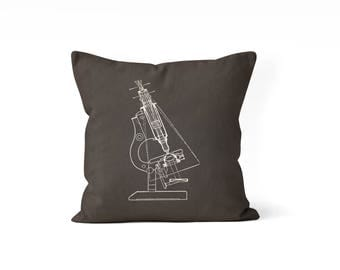 science pillow cover, microscope, dorm room decor, teen bedroom, science teacher gift, graduation gift, science gift, blueprint pillow cover