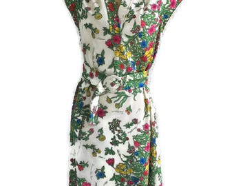 1970's Summer Garden Dress Cap Sleeves Belt Mandarin Collar Leslie Fay Original