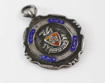 Sterling Silver Hallmarked Fob Medal Pendant Enamel Shield Life Saving 1930