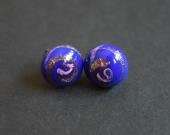 Cobalt Blue Glass Vintage Cabochon Bronze Pink Hypoallergenic Titanium Stud Earrings