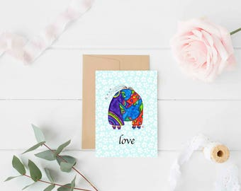 "Greeting Card ""Love"" / Wedding Bridal Engagement Anniversary / Birthday Baby Shower Couple Hugs World Christmas Card / Print at Home Artwork"