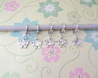 Set of 5 Silver Double Sided Sheep Snag Free Stitch Markers, Knitting Markers, Progress Marker, Knitting Notions, Fits up to 8 mm or US 11