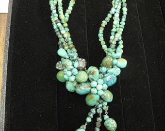 Vintage Turquoise Beads & Sterling Silver Clasp Designer Signed Necklace