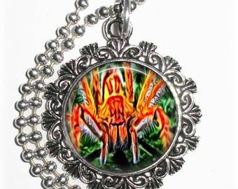 Orange Spider Art Pendant, Photo Painting Filigree Charm, Silver and Resin Necklace, YessiJewels Jewelry