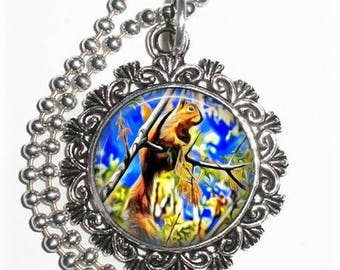 Squirrel on a Tree Pendant, Art Painting Resin Charm, Photograpy by Jon Sullivan, YessiJewels Necklace