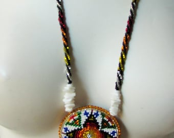 Hand Beaded American Indian Necklace on Leather