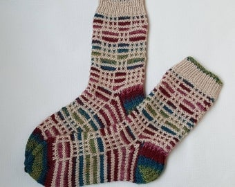 Hand Knit Wool Socks -Colorful Socks for Women-Handmade Wool Socks - Size S,M,L,XL,XXL