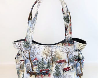 winter snow scene bag quilted handbag baby bag travel handbag diaper bag
