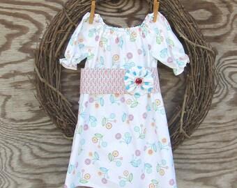 Girls Easter Dress,  Girls Summer Dress,  Flower Girl Dress, Baptism Dress, Girls White Dress