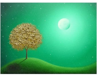 Green Landscape Print, Whimsical Nightscape, Archival Photo Print of Gold Tree Art, Modern Art Wall Art, Surreal Art, Golden Blossom Tree