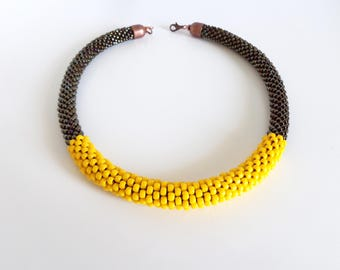 Yellow Rope Necklace // Bronze Beaded Necklace // Summer Necklace // Brown Crochet Necklace // Beaded Rope Necklace // Crochet Necklace