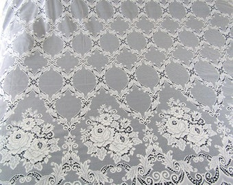 Vintage Ivory Lace Curtains   NOS Large Set Matching 8 Huge Panels Cut to Fit