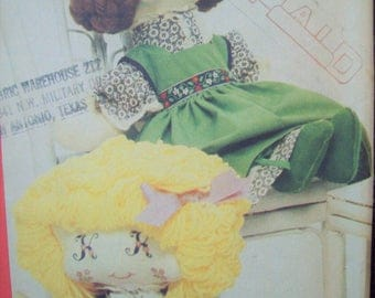 "19"" Stuffed Doll with Monogrammed Eyes, Pinafore, & Bloomers Bonnie's Bundles Butterick Pattern 4314 Most Uncut"