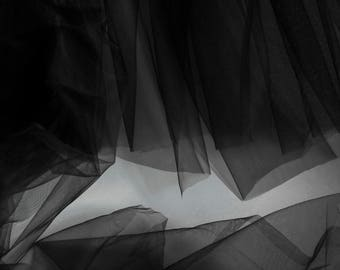 Super fine Luxury Black tulle fabric 150cm wide - very delicate light mesh - sold by the metre - prom, skirt, drape (M3)