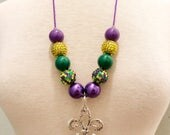 Mardi Gras Ball and Chain Necklace, Fleur de Lis Necklace, Mardi Gras Jewelry, Mardi Gras Beads, Photo Prop, Mardi Gras