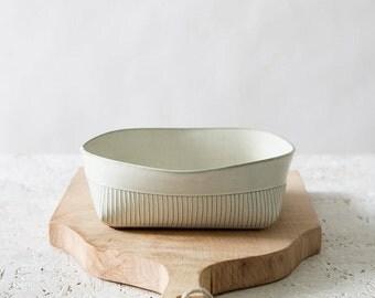Ceramic Bowl, white Ceramic Serving Bowl, Modern Stoneware Bowl, minimalist Salad Bowl, stripes Patterned Bowl, white kitchen, holidays gift