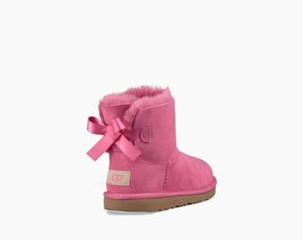 Custom Kids Youth UGG Boots Mini Bailey Bow Pink Chestnut Tan Black w/ Swarovski Crystal Rhinestone Winter Bling Dynamite Rhinestone Gift