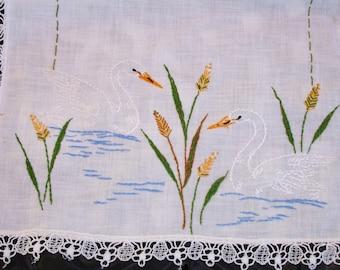 Tablerunner, hand embroidered, embroidered swans, handmade, dresser scarf, side board runner, 40x12, girls room, guest room, bureau runner