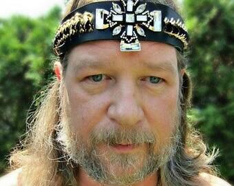 Maltese Cross Headpiece, Mens Headpiece, Black Leather Headband, Kings Crown, Ren Fair, Burning Man, Ready to Ship