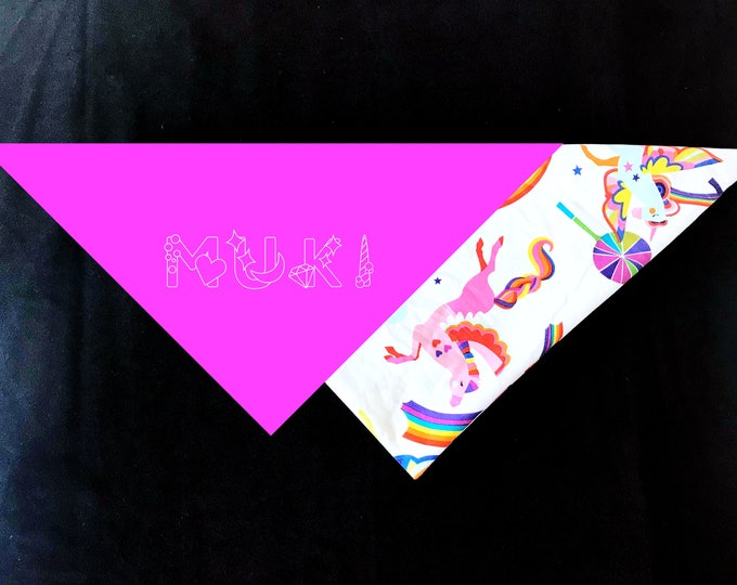 Personalized Unicorn Dog Bandana - Double Layer with Your Dog's Name in Unicorn Font